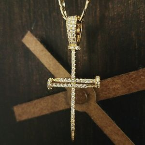 "14k Gold Plated Nail Cross 24"" Flat Cuban Necklace"